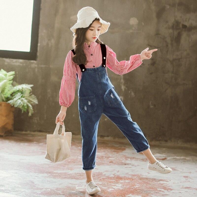Filles Boutique tenues enfants vêtements printemps automne filles vêtements ensembles à manches longues Plaid T-shirts + Cowboy sangles pantalons costumes - 2