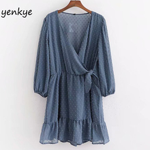Vintage Blue Dotted Chiffon Jumpsuit Women Cross V Neck Long Sleeve Casual Summe
