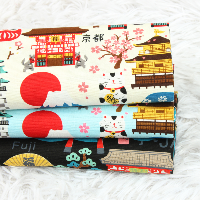 ハーフヤード厚み綿生地日本家フラワープリント手作りdiyバッグ枕衣服布綿 100% T1298