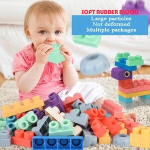 Baby Gummi Große Größe Partikel Ziegel Spielzeug DIY Bausteine Großen Ziegel Früh Pädagogisches Große Weiche Ziegel Spielzeug Bad Für kleinkind