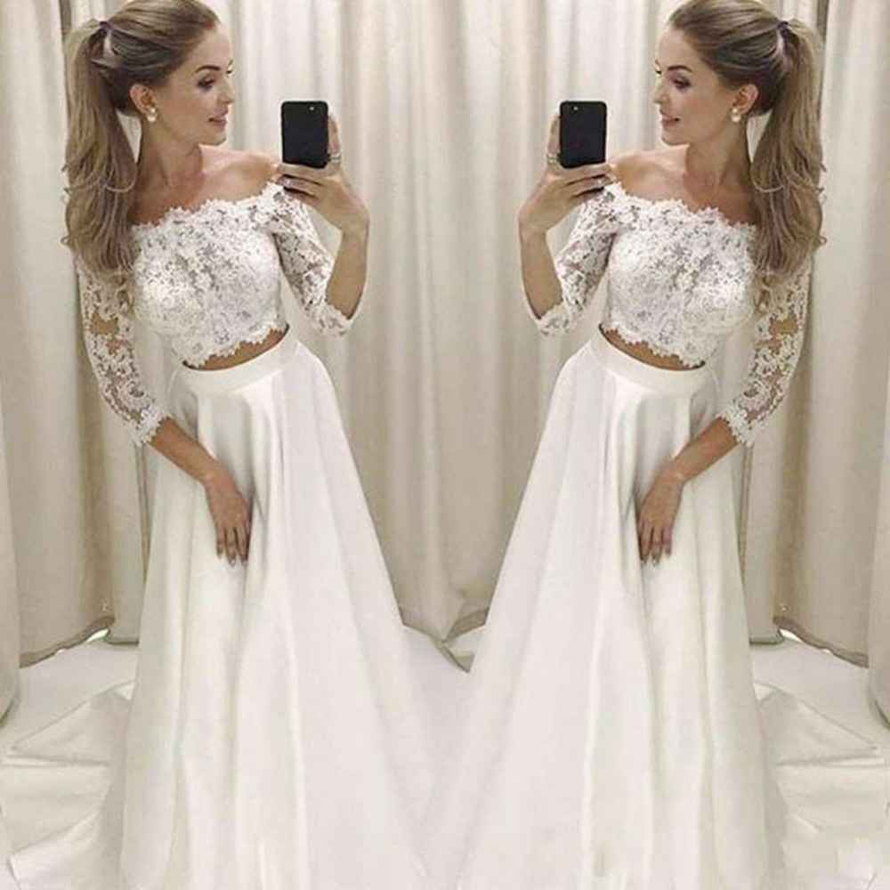 Two Piece Wedding Dresses With 3/4 Long Sleeve Off The Shoulder Beach Wedding Dress A Line Lace Floor Length Bridal Gown