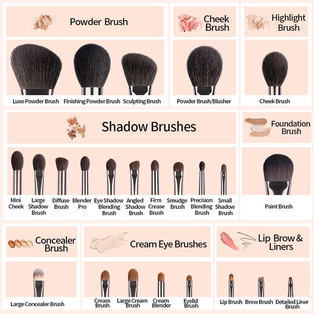 OVW Set de pinceles de maquillaje natural Pincel de maquillaje de sombra de ojos Kit de cepillo de polvo facial de pelo de cabra Herramienta de pliegue cosmético profesional 5