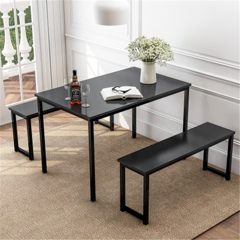 3 Piece Dining Table Set With Two Benches Kitchen Contemporary