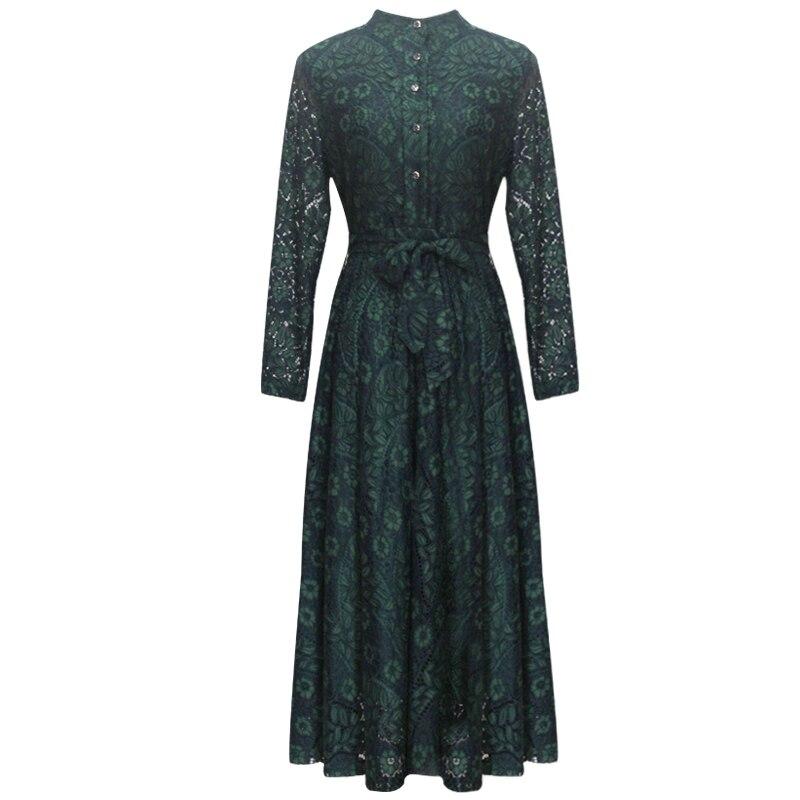 TAOYIZHUAI automne style décontracté robe pour les femmes o cou fit et flare taille haute bouton poignet genou longueur grande taille 14294 - 6