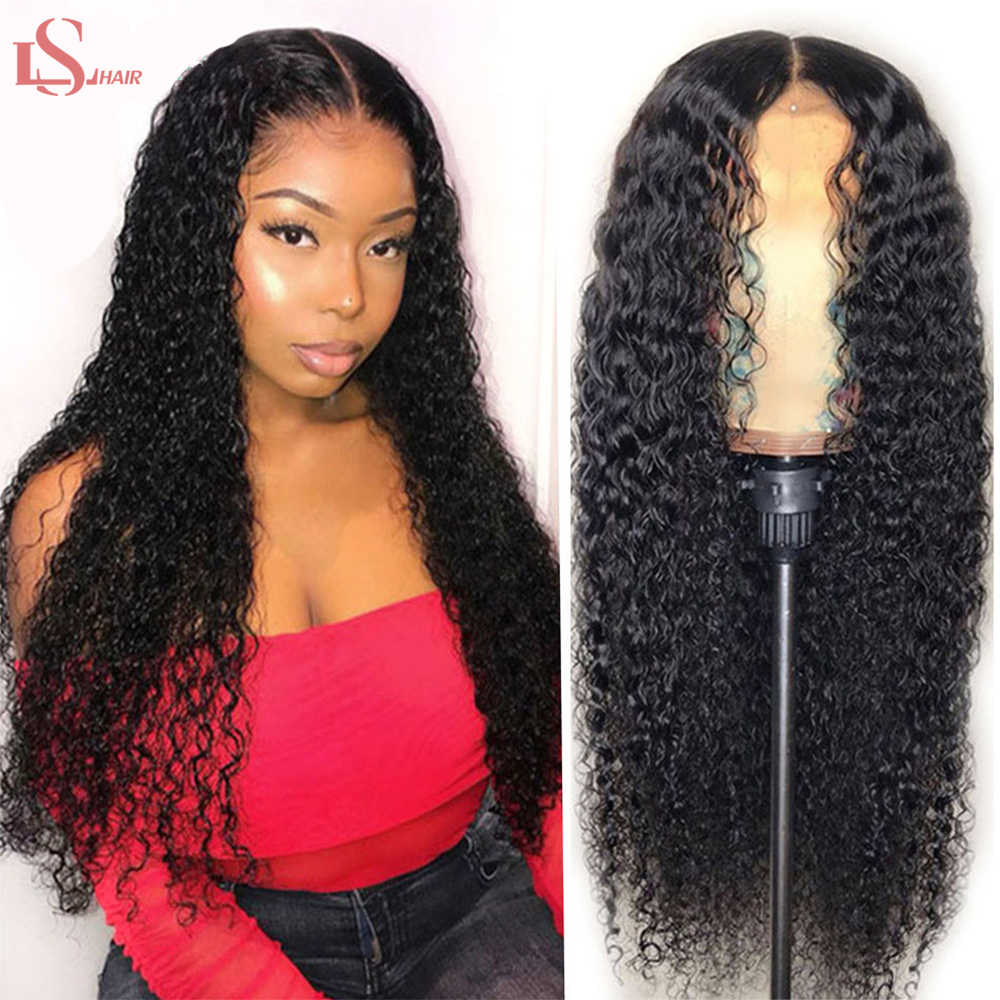 Kinky Curly Lace Front Human Hair Wigs For Black Women Pre Plucked 150% 13X4 Brazilian Remy Hair Curl Wig Bleached Knot  LS Hair