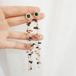 Dominated 2019 contracted fashion crystal flower Long metal tassels design Multicolor resin molding Women Drop earrings jewelry