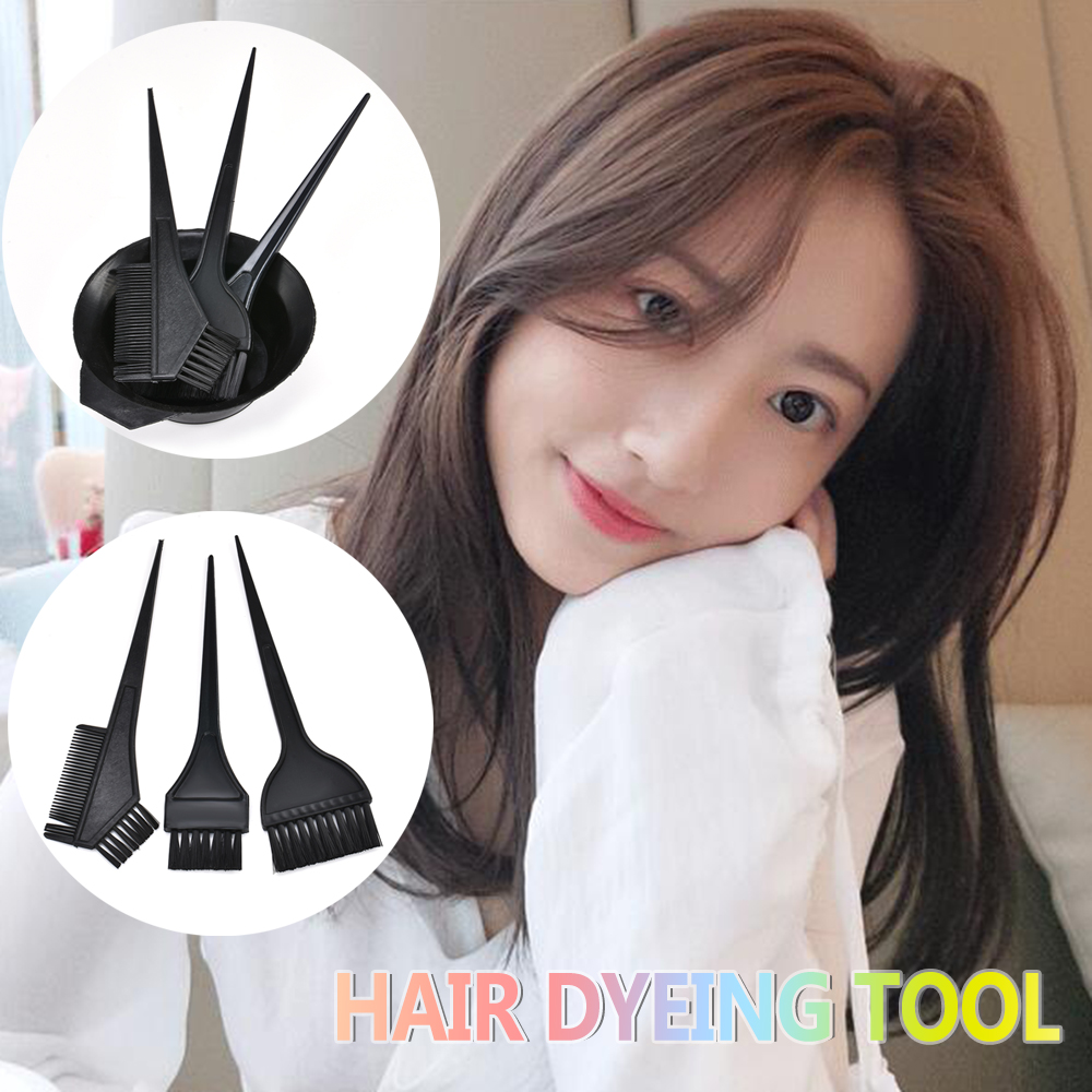 4Pcs Black Hair Color Dye Bowl Comb Brushes Tool Kit Set Tint Coloring Dye Bowl Comb Brush Twin High Quality Headed Brushes Set