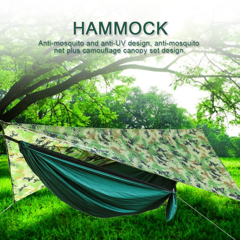 Portable Camping Hammock Lightweight Nylon Hammock Include Mosquito Net Rain Fly Tree Straps For Hiking Camping Survival Travel