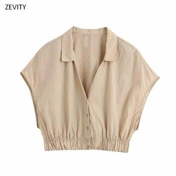 Zevity Nuove Donne Semplicemente Il Bordo Elastico Casuale Kimono Grembiule Di Colore Solido Camicetta Delle Signore Manica Corta Chic Femininas Top LS6781