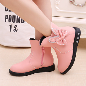 Image 3 - Zapatos para niños botas para niñas Otoño e Invierno 2019 nuevas botas de princesa arco más terciopelo cálido algodón niños botas de nieve zapatos para niñas