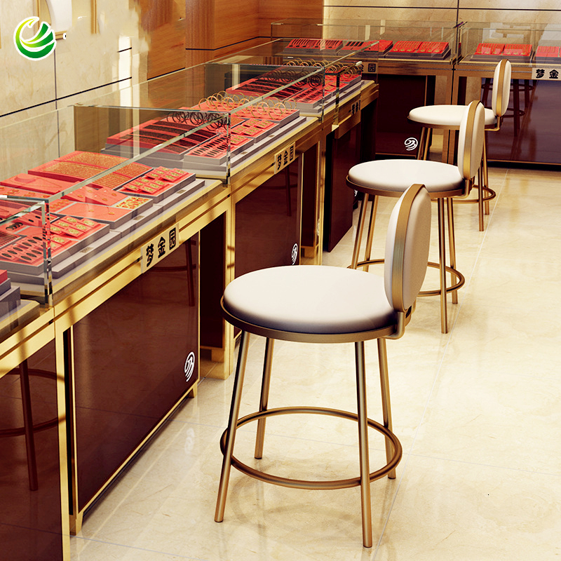 Jewelry Store Chair, Stainless Steel Chair, Front Desk Chair, Cash Register, High Stool, Bar Counter, Back Chair, Bar Stool