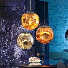 Nordic LED Pendant Light Glass Lava Melt Pendant Lamps Hotel Bar Silver Gold Hanging Lamp Living Room Home Decor Lights