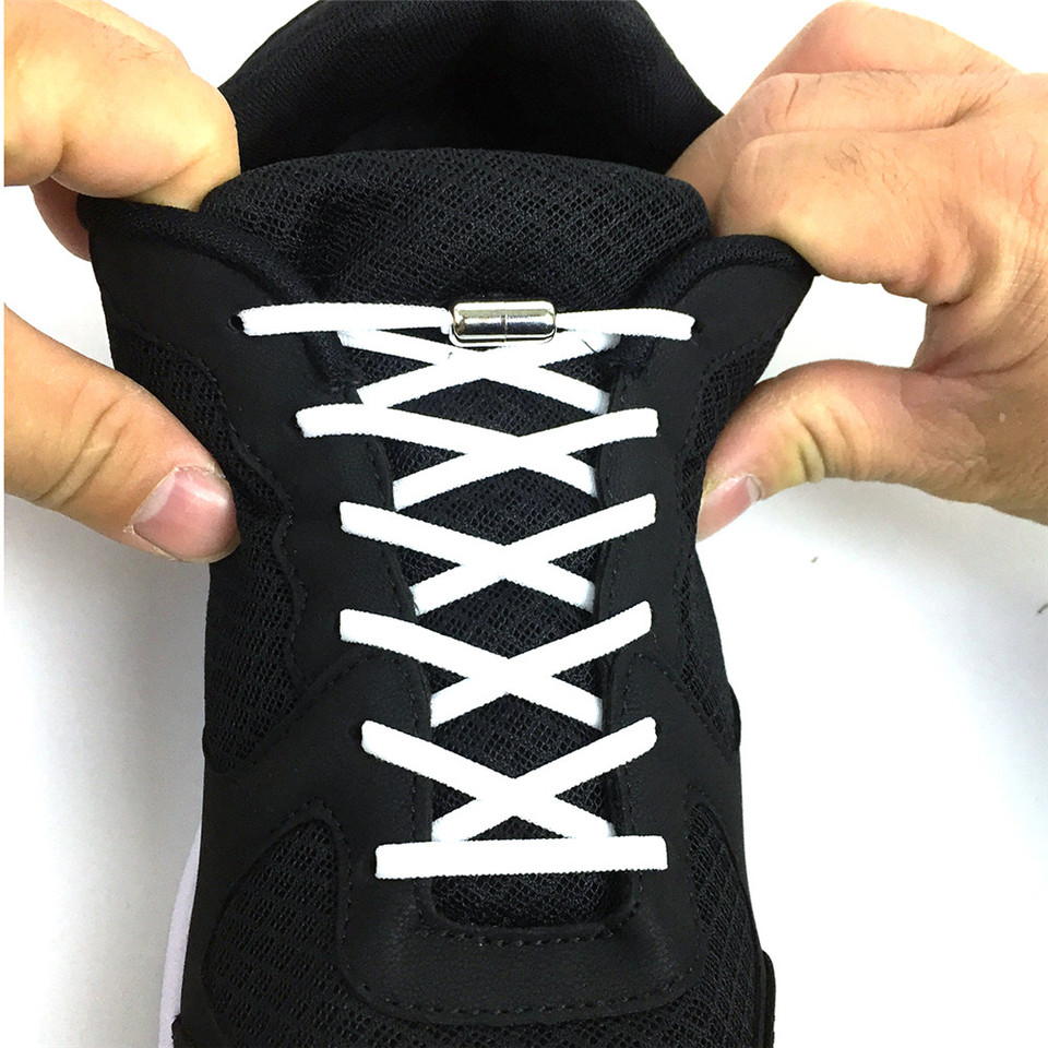 Shoe Laces Shoelaces Elastic Shoestrings 1Pair No Tie Metal Capsule Button