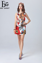 Baogarret Fashion Runway Summer Dress Womens Sleeveless Crystal Beading Flower Appliques Sequin Leopard Print Short
