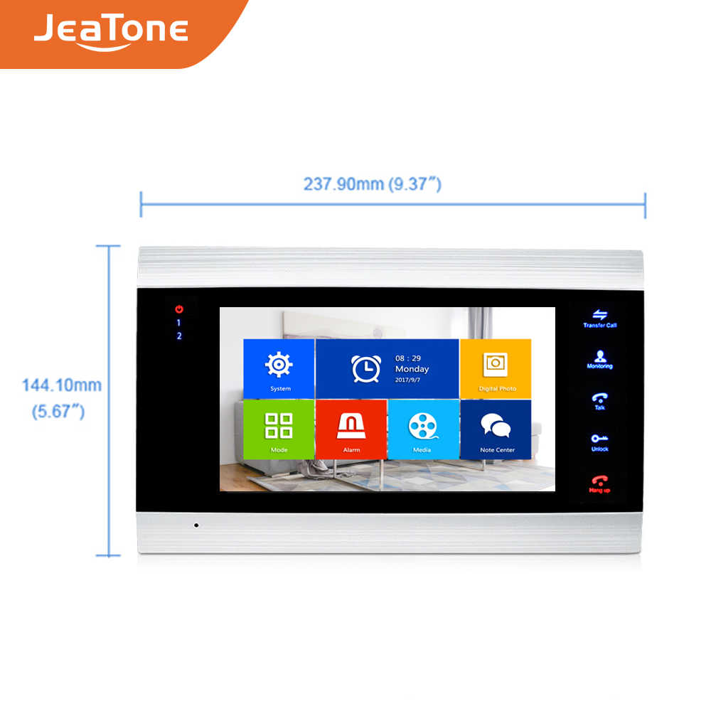 JeaTone חכם WiFi Tuya 7 ''בית וידאו דלת טלפון מערכת עם קול הודעה/זיהוי תנועה/MP4 נגן, תמיכת שלט רחוק