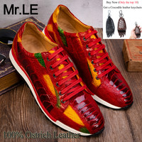Ostrich Shoes Men Casual 100% Genuine Leather Brand Designer Party Wedding Luxury Men's Leisure Ostrich Shoes