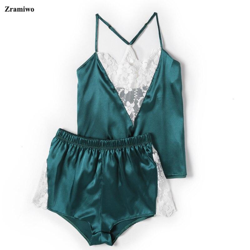 Set Piyama Satin Renda Potong Pijama Celana Pendek Seksi Cami Pakaian Tidur Pengantin Setelan untuk Wanita 5