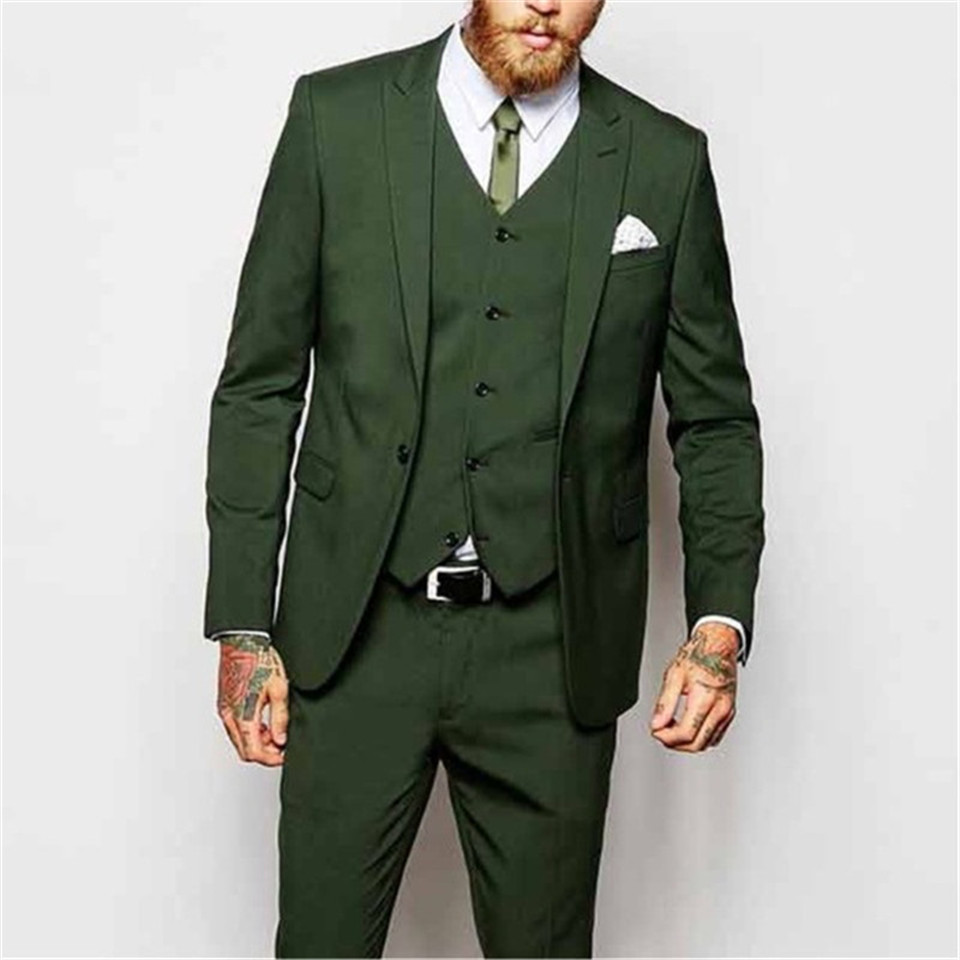 Men Suit Custom Wedding Groom Tuxedos New Fashion 3 Pieces Green Evening Party Peaked Lapel One Button (Jacket+Pant+Vest)