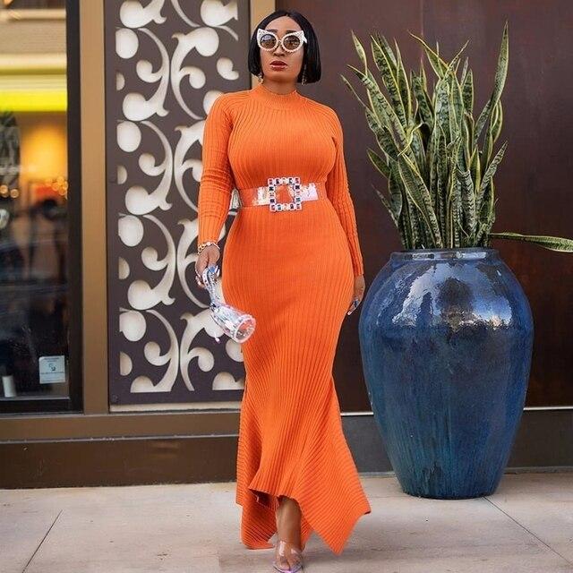 فساتين الأفريقية للنساء رداء الحياكة الملابس الأفريقية Dashiki موضة فستان طويل ماكسي أفريقيا الملابس ضيق فستان بكم طويل