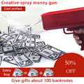 Faça chover arma de dinheiro vermelho rosa brinquedo natal presente festa brinquedos jogo 100 pçs dinheiro moda arma de dinheiro brinquedos bolha coluna para pacote