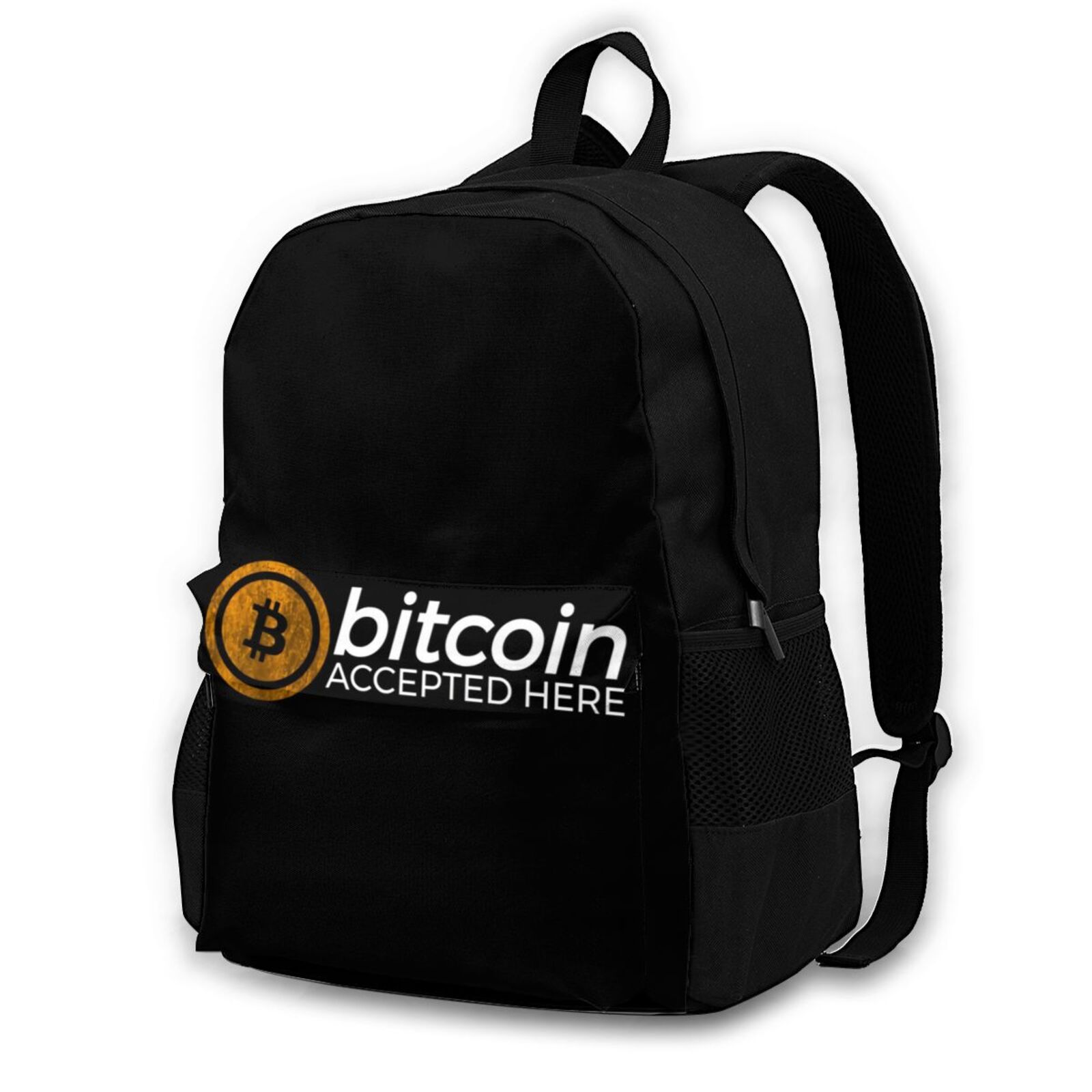 Bitcoin Backpacks Universal Polyester Campus Backpack Runner Print Bags 1