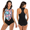 Zippered Front Sports One Piece Swimsuit 16