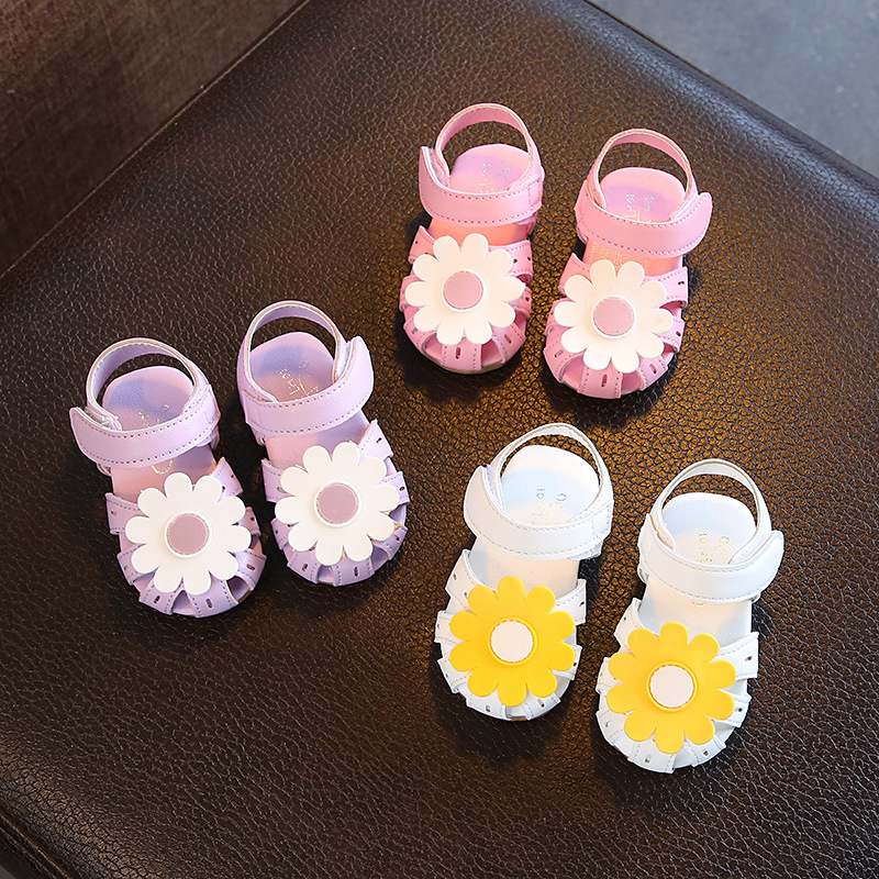 2019 New Summer Kids Leathers Shoes Sweet Flower Sunflower Children Sandals For Girls Toddler Baby Breathable Hollow Out Shoes
