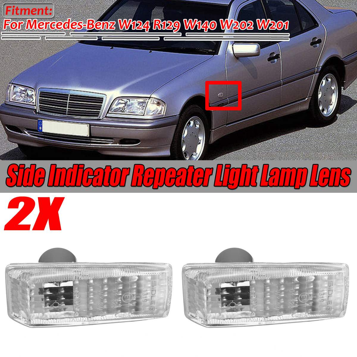 1 Pair Car Side Marker Light Cover Indicator Repeater Light Lamp Lens Co Ver Trim For Mercedes For Benz W124 R129 W140 W202 W201