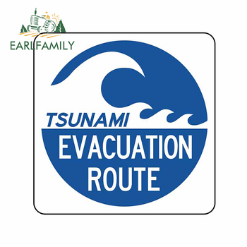 EARLFAMILY 13cm x 12.7cm for Tsunami Evacuation Route Wall Car Stickers Windshield Decal Snowboard Anime Tuning Vinyl Car Wrap image