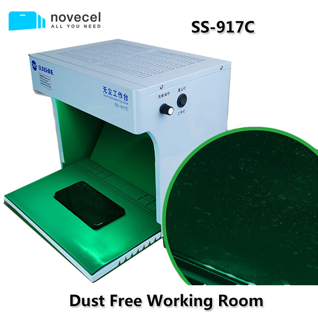 New SS 917C Dust Free Room Portable Anti Dust Working Bench Cleaning Room with Dust Checking Lamp For Mobile Phone Repair Tools