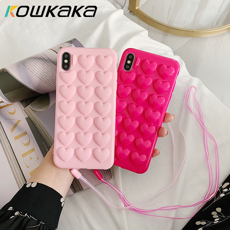 Kowkaka <font><b>3D</b></font> Love Heart Candy Phone <font><b>case</b></font> for <font><b>iphone</b></font> 11 Pro Max XS Max XR XS <font><b>X</b></font> 6 6S 7 8 Plus With <font><b>Silicone</b></font> Lanyard Soft Back Cover image