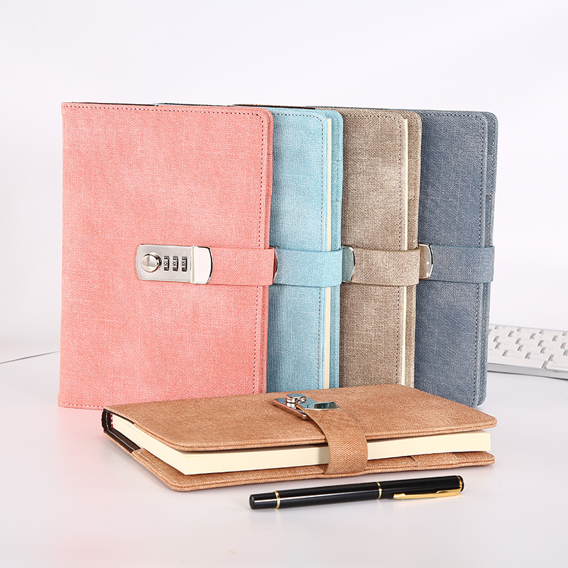 A5 Cute With Lock Password  Leather Notepad Agenda 2019 2020 Weeks Planner Notebook School Stationery Travel Journal Note Books