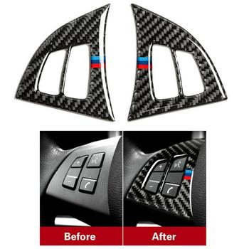 Carbon Fiber Car Steering Wheel Button Panel Trim Sticker For BMW X5 E70 08-13 Universal Black Steering Wheel Cover Car Interior image