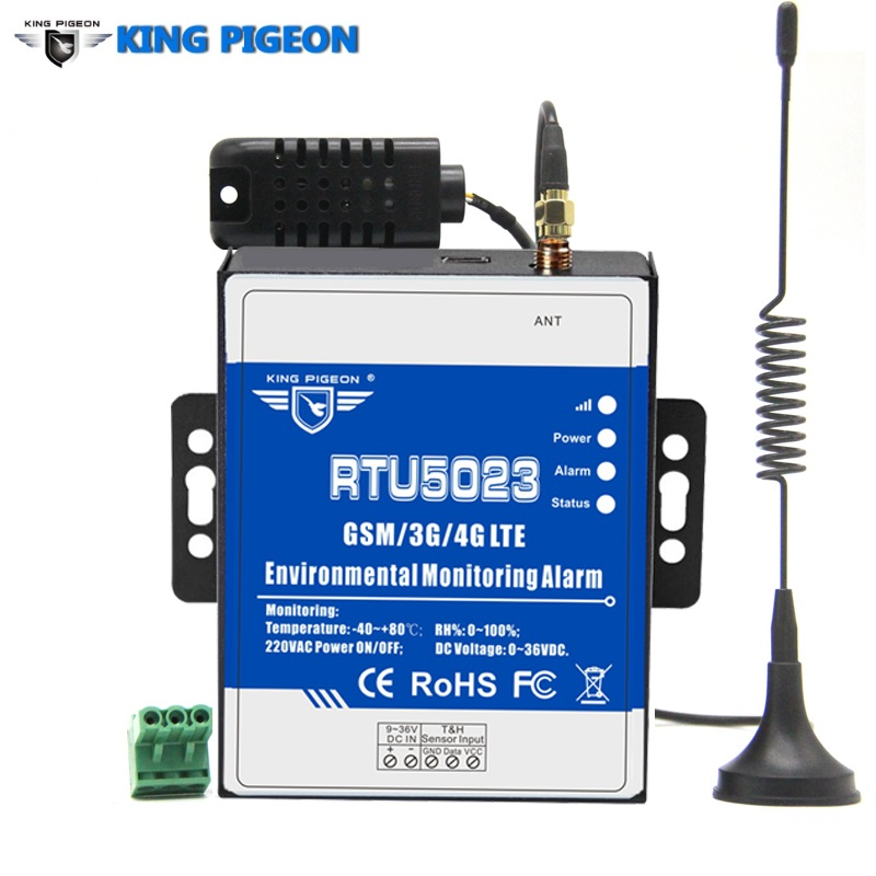 King Pigeon RTU5023 GSM 3G 4G RTU Temperature Humidity Alarm AC/DC Power Lost Alert Remote Monitor Support Timer Report APP