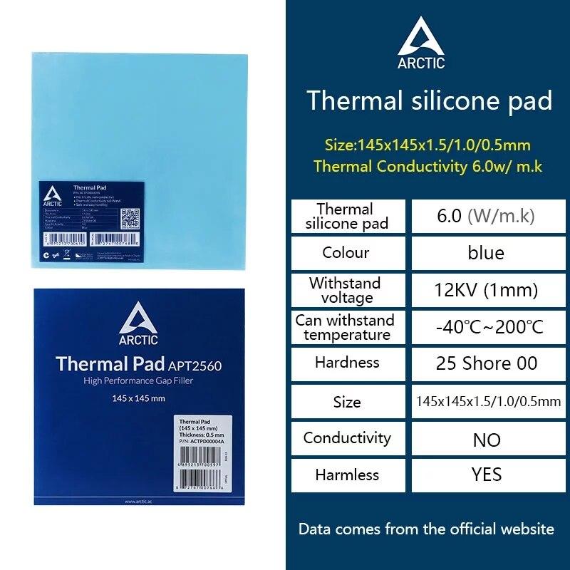 ARCTIC AC Thermal pad 6.0 W/mK 0.5/1.0/1.5mm High Efficient thermal conductivity Original authentic Arctic Thermal pad 2