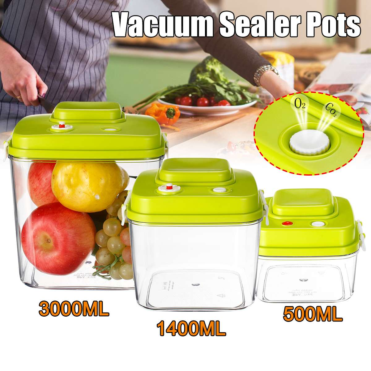 Vacuum Containers Fresh Can Damp Proof Tea Pot Food Container Seal Pot Vacuum Sealer Pots For Seal Foods 500/1400/3000ML