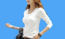 White T Shirt Women Long Sleeve Womens Tops Spring Autumn Tee Shirt Women Korean Style T-Shirt Cotton New Plus Size Tshirt(China)