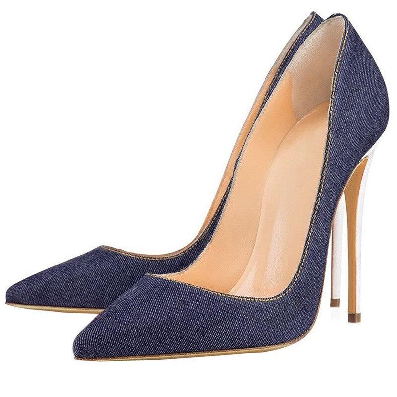 Джинсовые кожаные сандалии; женские босоножки на очень высоком тонком каблуке; пикантные белые туфли на каблуке; большие размеры 35 45; обувь для подиума с острым носком - 2
