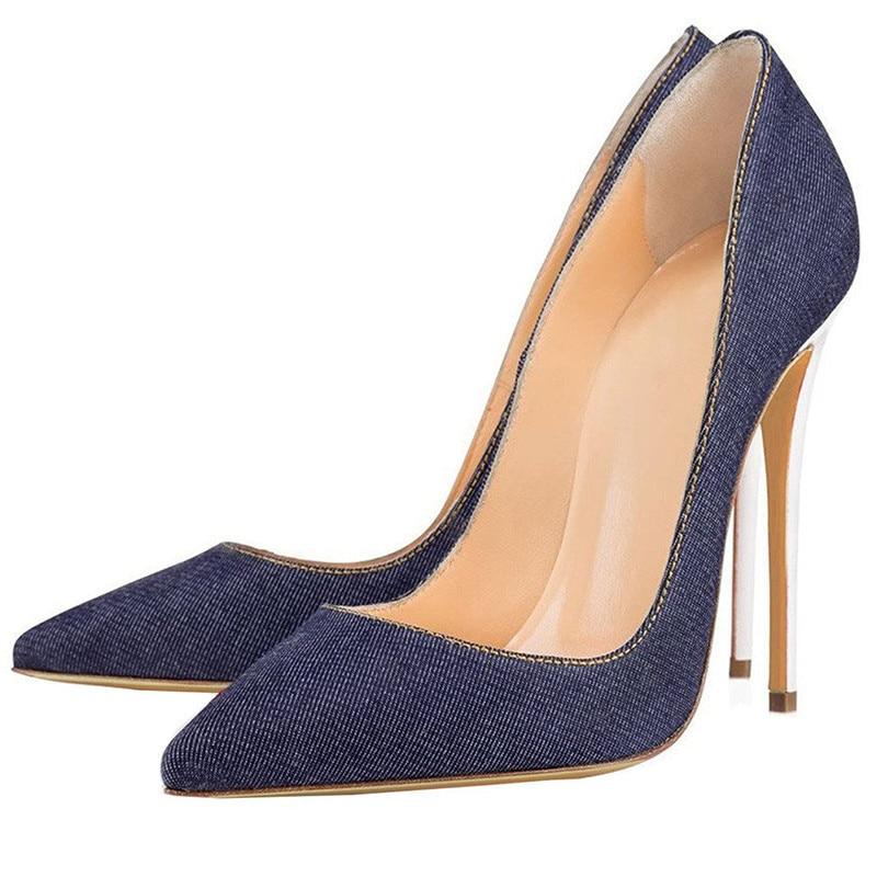 Sandalia de cuero Demin mujeres Super tacón alto tacones finos sandalias Sexy tacones blancos zapatos talla grande 35 45 punta dedo del pie pista zapatos - 2