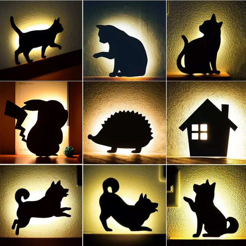 LED Animal Shape Motion Sensor Control Smart Sound Wall Lamp Home Corridor Balcony Night Lighting Baby Kids Cute Cat Sleep Lamps