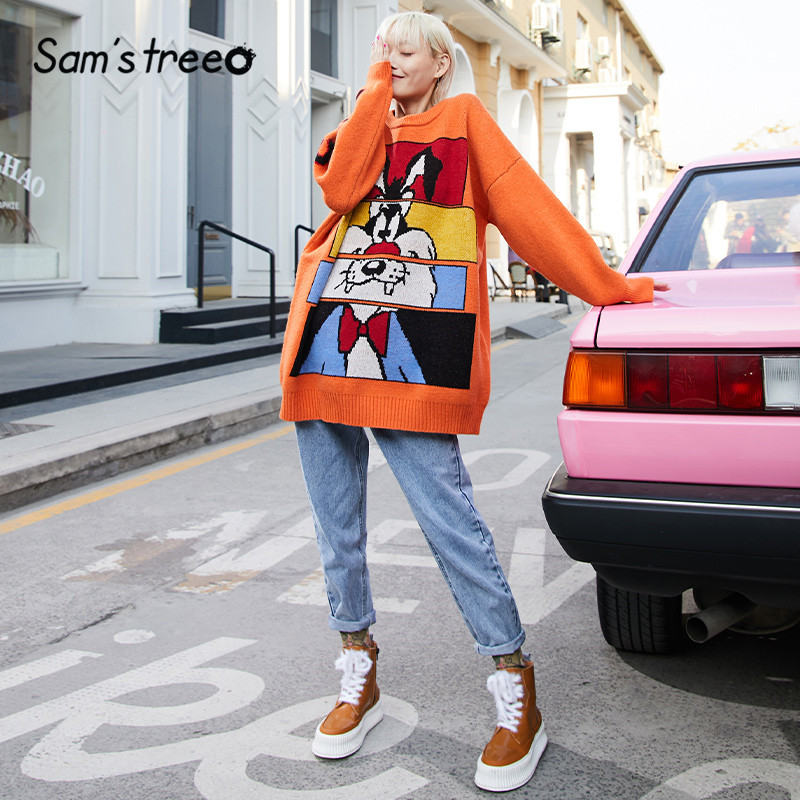 SAM'S TREE Multicolor Cartoon Print Knit Pullovers Women Sweaters 2020 Winter Cute Lantern Sleeve Casual Office Ladies Daily Top
