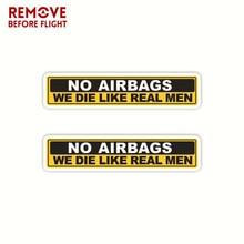 1 Pair No Airbags We Die Like Real Men Funny Bumper Sticker Vinyl Decal JDM Car Truck Window Decal