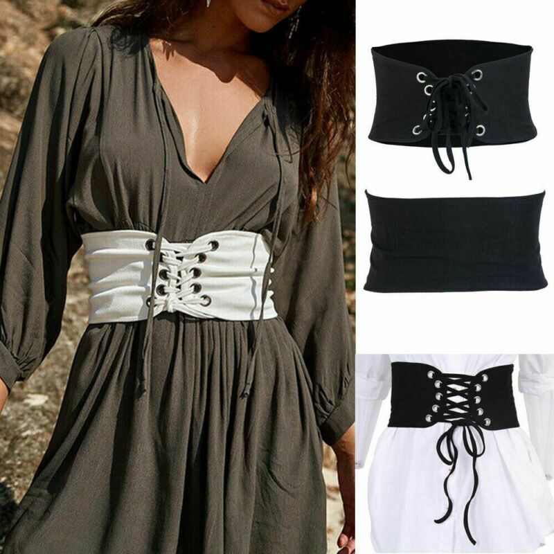 Women Retro Waist Belt Lady Vintage Sexy Lace Up Cross Buckle Elastic Stretch Bodice Waist Belts Corset Waistbands Match Dress