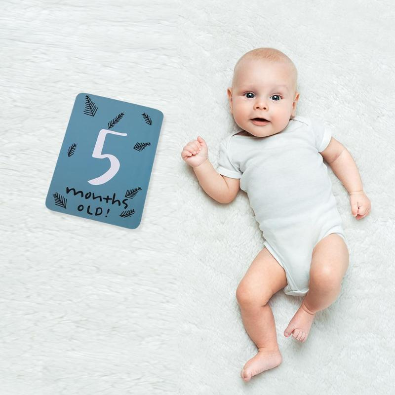 20pcs Month Cards Pregnant Photos Funny Cartoon Milestone Photographic Props For Infant Growth Photography Props Growth Record