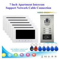 7 inch 2/3/4/6 Apartment/Family Video Door Phone Intercom System RFID IR CUT HD 700TVL Camera Doorbell Night Vision Camera Water