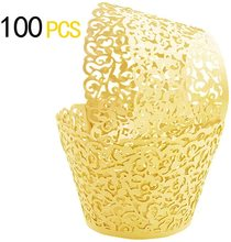 METABLE 100Pcs Cupcake Wrappers Artistic Bake Cake Paper Filigree ,  for Wedding Party Birthday Decoration