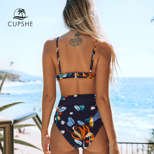 Image 2 - CUPSHE Navy and Orange Abstract Floral Print Bikini Sets Sexy Belt Swimsuit Two Pieces Swimwear Women 2020 Beach Bathing Suits
