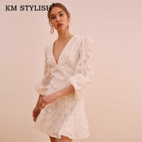 2019 New Fashion Women Clothes V neck Slim Dress White Lace Leaves Patchwork Casual A Line Dress Female Long sleeve Dress