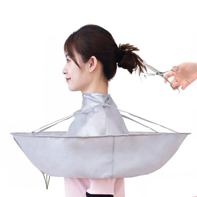 Imperméable à leau coupe de cheveux Cape adulte coupe de cheveux parapluie Cape Salon barbier coiffure couverture collecteur de cheveux tissu enveloppement pliable