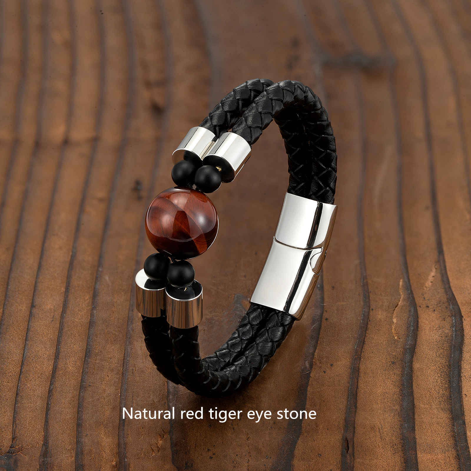 European and American Retro Style 16mm Natural Tiger's Eye Double-row Leather Cord Bracelet Stainless Steel Magnet Buckle Bracel